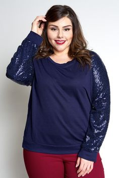 Plus Size Clothing for Women - Jessica Kane Sequined Plus Size Sweater - Navy (Sizes 14 - 20) - Society+ - Society Plus - Buy Online Now! - 1