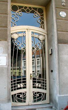 Art Nouveau Door at Hütteldorfer Straße 124, Vienna, Austria - (Matzingergasse 24 1140 Wien)