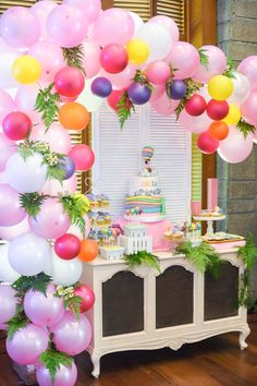 "Dessert table from an ""Oh the Places You'll Go"" Dr. Seuss Birthday Party on Kara's Party Ideas 