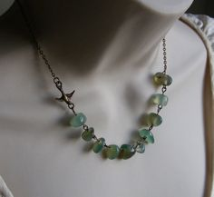 Sparrow Beaded Necklace in Antique Brass by lakeshorecreations4u, $26.00