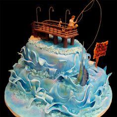 Birthday cake for men fishing galleries 63 ideas Fish Cake Birthday, Birthday Cakes For Men, 13th Birthday, Birthday Ideas, Beautiful Cakes, Amazing Cakes, Fisherman Cake, Ocean Cakes, Dad Cake