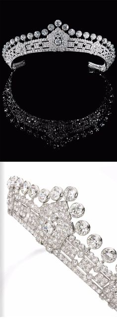 A gorgeous art deco diamond tiara, by Cartier, 1930s, formerly the property of Mary Innes-Kerr, Duchess of Roxbrughe. To be auctioned at Sotheby's Magnificent and Noble jewels in May