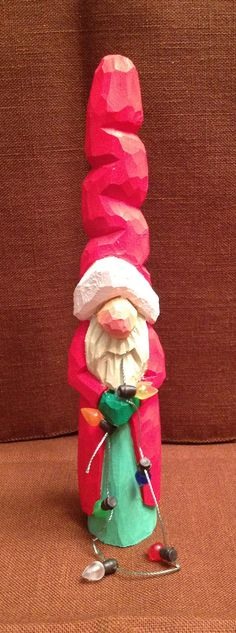 Hand Carved Handmade Santa Decoration Wood di RWKWoodcarving, $20,00