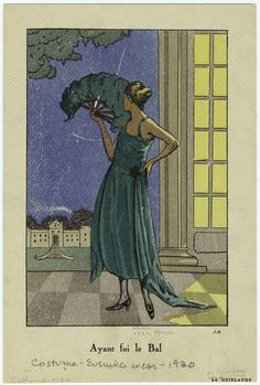 """Ayant fui le bal"", La Guirlande, 1920; NYPL Mid-Manhattan Picture Collection / Costume -- evening wear -- 1920s  826008"