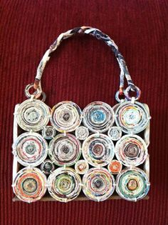 "recycled paper; unique purse handbag. coiled paper and rolled ""straw-like"" paper"