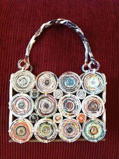 recycled paper unique purse handbag