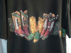 Mens T Shirt Large Cowboy Boots Graphic front and back 100% cotton Made in USA