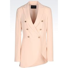 Emporio Armani Double-Breasted Jacket (7 810 SEK) ❤ liked on Polyvore featuring outerwear, jackets, pink, long sleeve jacket, pink jacket, emporio armani, emporio armani jacket and double-breasted jacket