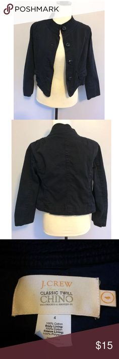 J.Crew Navy Chino Cropped Shrug Jacket Size 4 There are no holes or stains. Size 4. Length is 18 inches from top to bottom. J. Crew Jackets & Coats Utility Jackets