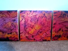 Pink and yellow mix.... abstract  three part piece....