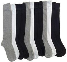 12 Pairs Of Sockbin Womens Knee High Socks, Boot Socks, Long Socks (Black/White/Gray)