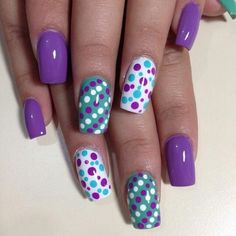 New Fails Design For Wedding Purple Polka Dots 38 Ideas Fancy Nails, Love Nails, Pretty Nails, Pretty Nail Designs, Diy Nail Designs, Fabulous Nails, Perfect Nails, Pointed Nails, Polka Dot Nails