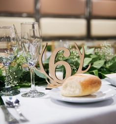 Rustic Wood Antler Wedding Table Numbers | Handmade Wedding Decor & Gifts at www.ZCreateDesign.com... or shop ZCreateDesign on Etsy