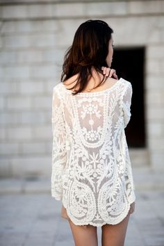 I have this soft lace top in coral and I love, love it worn with my favorite soft blue jeans.  From live-breathe-fashion.tumblr.com