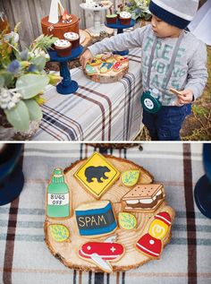 Super Cute {Backyard} Winter Camping Party: Incredible camping cookies