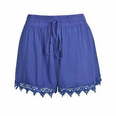 Ally Fashion Crochet hem tie waist short ($12) ❤ liked on Polyvore