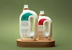 Living Green | Brother Design Agency Label Design, Box Design, Design Agency, Branding Design, Plastic Bottle Design, Detergent Bottles, Skin Care Spa, Dishwashing Liquid, Bottle Packaging