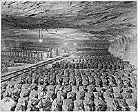 The 90th Division discovered this Reichsbank wealth, SS loot, and Berlin museum paintings that were removed from Berlin to a salt mine in Merkers, Germany., 04/15/1945