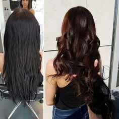 #beforeafter #tigereyehair #haircolor #hairtransformation #longhair #blacktobrown