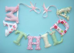 Fabric letter name banner, girl's room name banner - PINK - GREEN COLOR pattern,  Baby Girl Name Wall Art - Made To Order on Etsy, $7.00