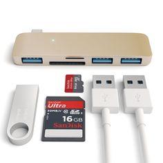 Satechi® Type-c USB 3.0 3 in 1 Combo Hub - 3-port Usb 3.0 Hub