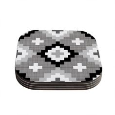 "Kess InHouse Pellerina Design ""Linen Moroccan"" Grey Geometric Coasters (Set of 4) 4""x 4"" (Linen Moroccan) (Wood)"