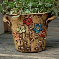 Hand Built Pottery, Slab Pottery, Pottery Bowls, Ceramic Pottery, Ceramic Pots, Ceramic Flowers, Clay Vase, Clay Pots, Clay Projects