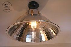 Ceiling Salvage Industrial Aluminium Chrome light, Antique Edison Bulb, Lamp, Rustic Lighting