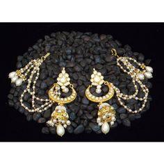 Elegant kashmiri style kundan pearl chand bali jhumki earring - Online Shopping for Earrings by Elegant Elements