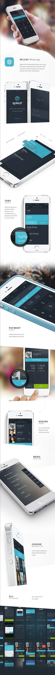 Spleat is the mobile paymtent app for your social life, allowing restaurants, bars and clubs to offer customers a sleek and unique way to pay and split their bill via their mobile phones - #app #iphone #behance