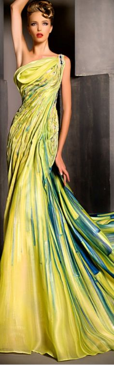 Blanka Matragi, Haute Couture ~ One Shoulder Yellow & Blue Print Gown. Ohh Couture, Style Haute Couture, Couture Fashion, Vestidos Red Carpet, Beautiful Gowns, Beautiful Outfits, Gorgeous Dress, Elegant Dresses, Pretty Dresses
