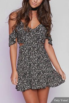 Black Sexy Random Floral Print Cami Dress with Cut Out