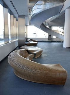 unique spill bench seating of lobby design