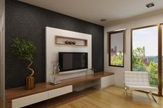 Elegant White Tv Cabinet With Contrast Wallpaper Ipc338 - Lcd Tv Cabinet Designs - Al Habib Panel Doors