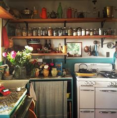 Beatrice Valenzuela's Kitchen. Open shelving.