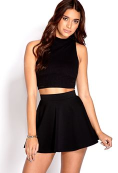 Fresh Ribbed Crop Top from Forever Shop more products from Forever 21 on Wanelo. Girls Fashion Clothes, Girl Fashion, Womens Fashion, Fashion Design, Fashion Trends, Black High Neck Top, Black Crop Tops, Top Y Pollera, Skirt Outfits