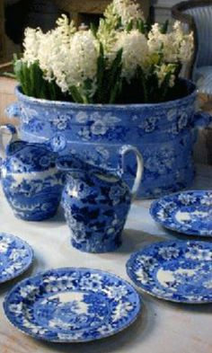 beautiful blue and white dishes