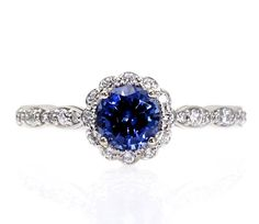 14K+Blue+Sapphire+Engagement+Ring+with+Diamond+Halo+by+RareEarth,+$1,148.00