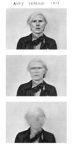 andy, 1972 (duane michals)  Duane Michaels is one of my Favorite Photographers, especially the series like this Andy Warhol, whenever I think of Warhol this is the image that comes to mind!