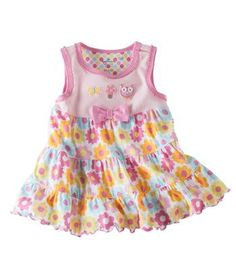 Love the little owl and the brightly colored flowers!  Dressing little girls can be so much fun!