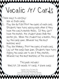 Vocalic /r/ Cards for Speech Therapy. Repinned by SOS Inc. Resources pinterest.com/sostherapy/.