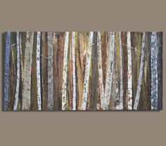 Birch Tree Painting in Earthtones Ghost by SageMountainStudio