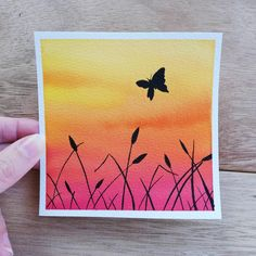 Kreatives Mini no 24 sunset watercolour watercolor sky sunset watercolor butterfly painting original painting watercolor sunset orange sunset Abstract Art abstract art Butterfly Kreatives MINI Orange Original Painting Sky Sunset watercolor Watercolour Simple Canvas Paintings, Easy Canvas Art, Small Canvas Art, Mini Canvas Art, Watercolor Paintings For Beginners, Painting Videos, Acrylic Paintings, Painting With Watercolors, Painting Ideas For Beginners