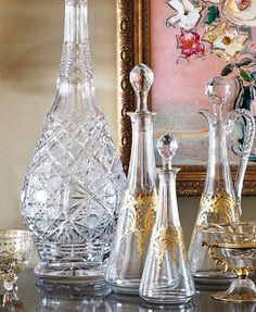 Antique cut crystal decanters