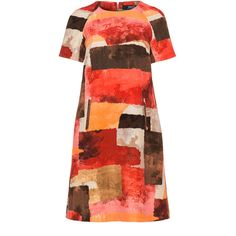 navabi Brown / Red Plus Size A-line printed scuba dress ($205) ❤ liked on Polyvore featuring dresses, brown, plus size, red flare dress, flared sleeve dress, flare dress, a line dress and red a line dress