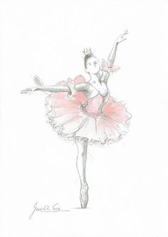 Set of 4 Prints Ballerina Art Pink Ballerina Watercolor