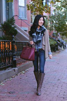 Drape front cardigan, denim shirt, black and grey scarf, burgundy bag, leopard belt, brown riding boots