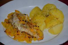ZAPEČENÁ TRESKA S DÝNÍ * Grains, Meat, Chicken, Food, Essen, Meals, Seeds, Yemek, Eten