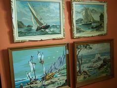 nautical, harbor, coastal - Vintage framed PBN's.