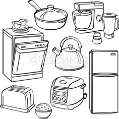 kitchen items colouring pages  ColoringOther  Pinterest